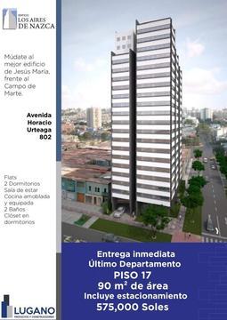 Departamento en venta en Jesus Maria Edificio Los Aires de Nazca Dpto Piso 16 Tipo 3 Flat