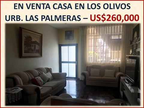 VENTA CASA DE 129 M2 EN EL DISTRITO DE LOS OLIVOS URB. LAS PALMERAS