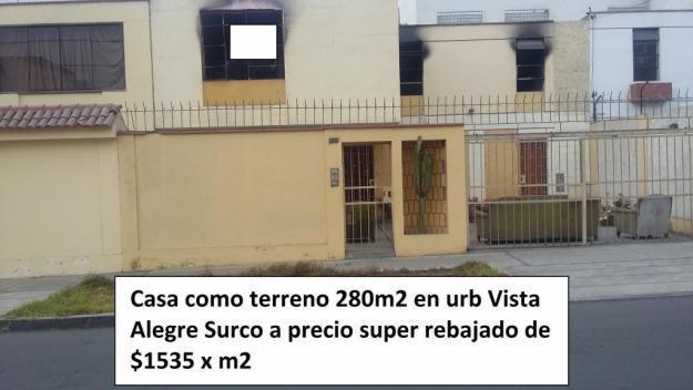 Casa como terreno en venta Urb. Vista Alegre Surco 280m2